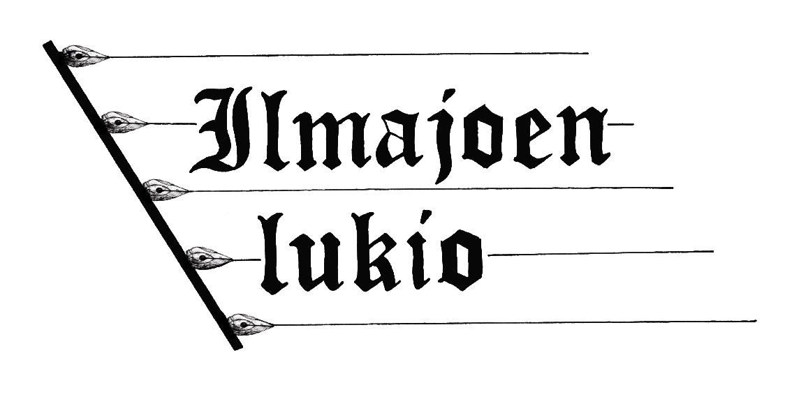 Ilmajoen lukion banneri, tekstinä Ilmajoen lukio.