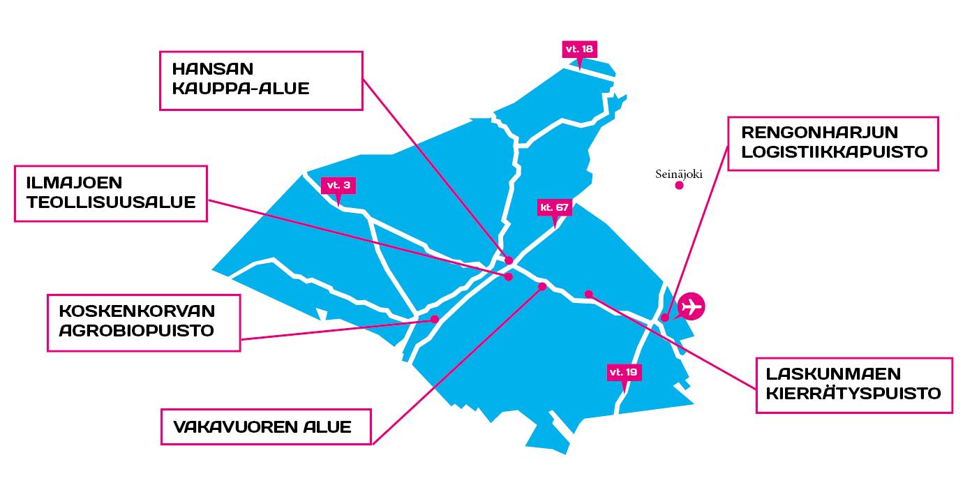 ilmajoen yritysalueet kartalla